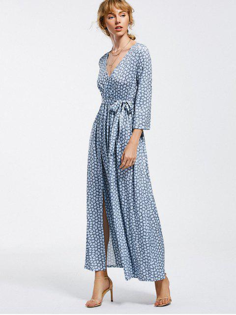outfit Belted Slit Printed Maxi Dress - LIGHT BLUE L Mobile