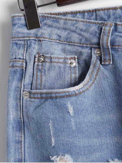 shops Destoryed Floral Embroidered Tapered Jeans - DENIM BLUE M Mobile