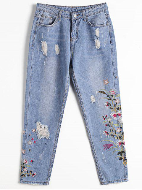 shops Destoryed Floral Embroidered Tapered Jeans - DENIM BLUE M Mobile