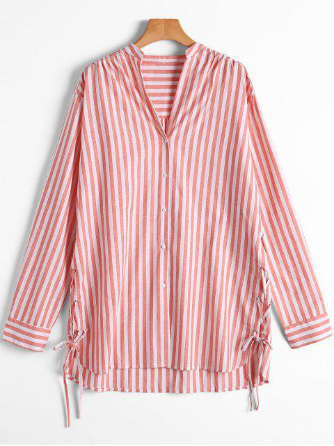 trendy Stripes Button Up Lace Up Shirt - RED AND WHITE S Mobile