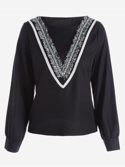 ladies Round Collar Long Sleeve Embellished Blouse - BLACK M Mobile
