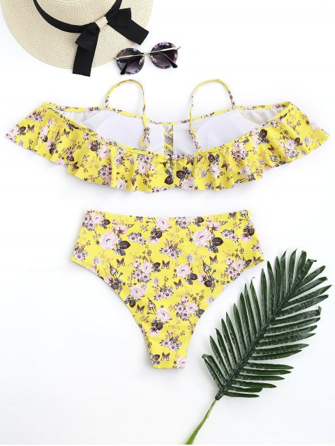 womens Floral Frilled High Waisted Bikini Set - YELLOW S Mobile