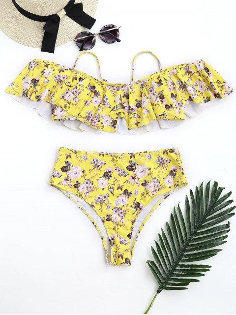 Ensemble de bikini à fleurs - Jaune S Mobile