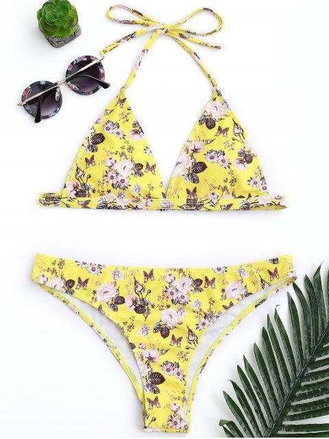 shops Padded Tiny Floral High Cut Bikini Set - YELLOW L Mobile