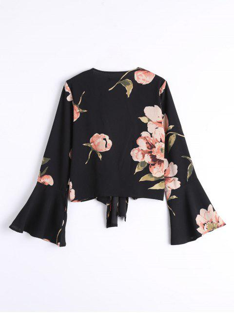 Bowknot Floral Flare Sleeve Blouse - Noir S Mobile