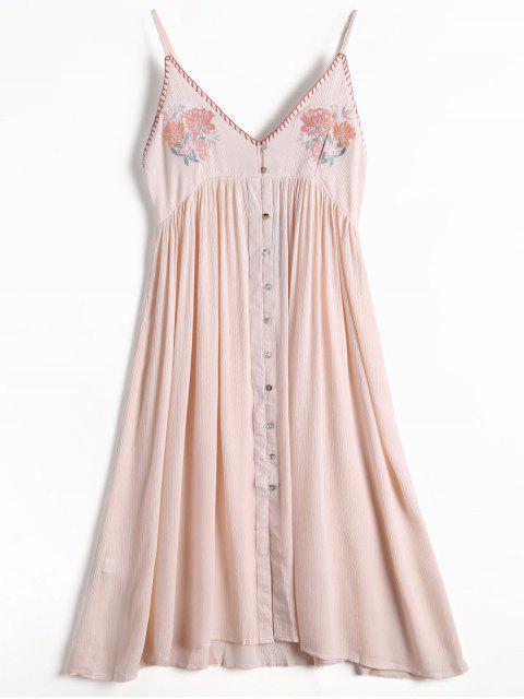 Robe Lisse Boutonnée Brodée Florale - Rose Léger  L Mobile
