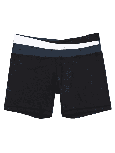 Shorts de couleur asymétrique à la taille - Bleu L Mobile