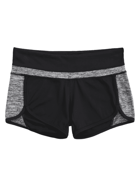 ladies Color Block Heathered Workout Shorts - BLACK AND GREY L Mobile