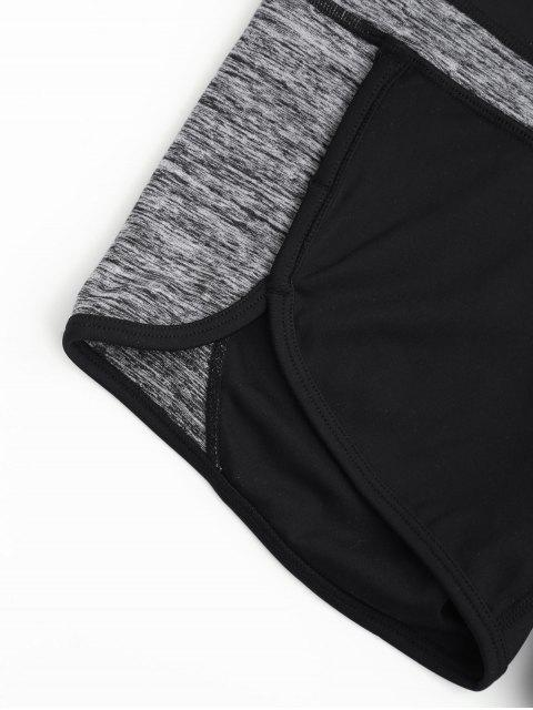 lady Color Block Heathered Workout Shorts - BLACK AND GREY M Mobile