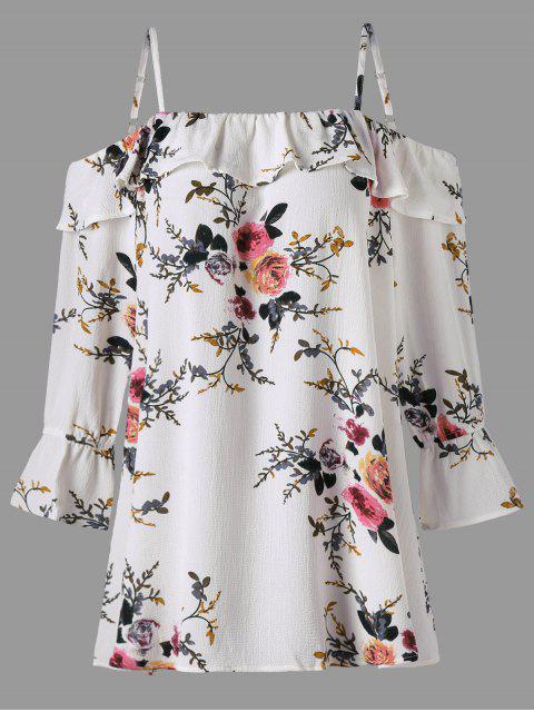 new Plus Size Floral Flounce Cold Shoulder Blouse - WHITE XL Mobile