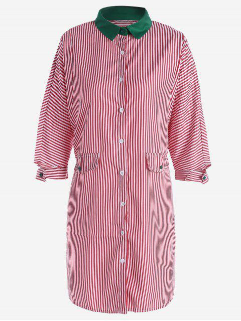 outfit Button Up Striped Shirt Dress - RED L Mobile