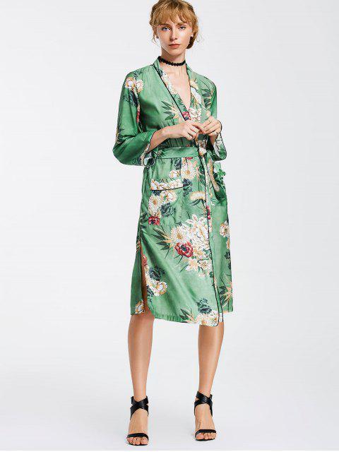 Kimono dünner Mantel mit Blumen und Gürtel - Blumen M Mobile
