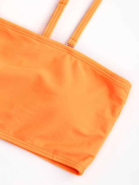 sale Padded High Cut Bandeau Bikini Set - ORANGE L Mobile
