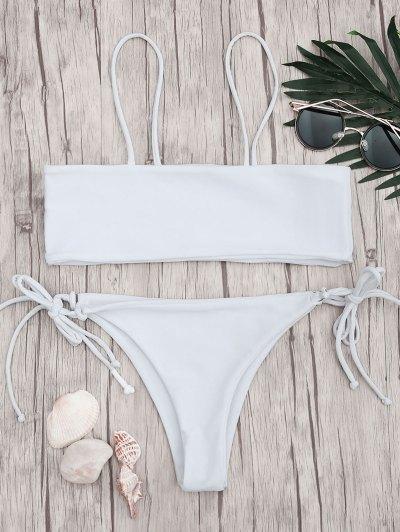 Bandeau Bikini Top and Tieside String Bottoms