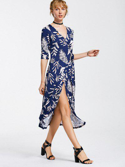 Leaves Print Mid Calf Wrap Dress - Bleu Foncé