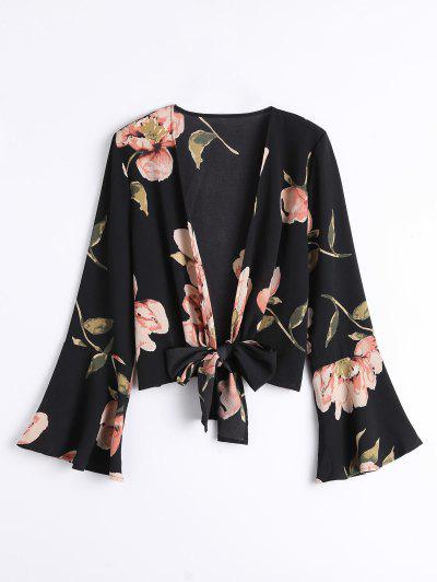 Bowknot Floral Flare Sleeve Blouse - Black S