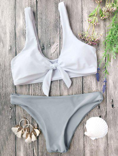 Padded Knotted Bralette Bikini Set - Grey And White L
