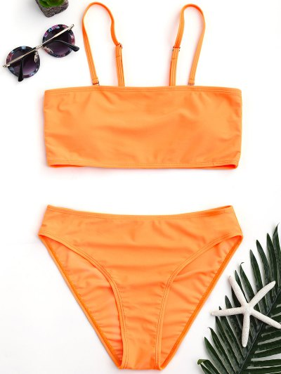 Padded High Cut Bandeau Bikini Set - Orange L