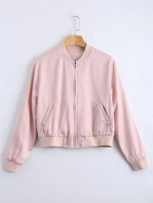 Embroidered Zip Up Souvenir Jacket - Pink S