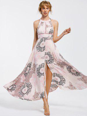 Bowknot Sheer Vestido Corte Maxi - M