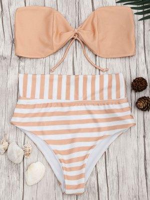Bandeau Striped High Waisted Bikini Set - Orangepink S