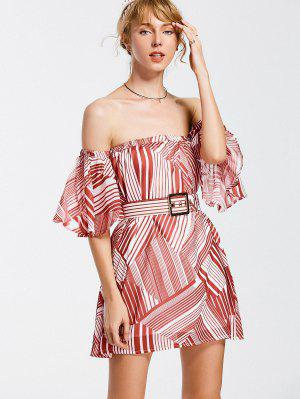 Belted Striped Dress With Hair Band - Red
