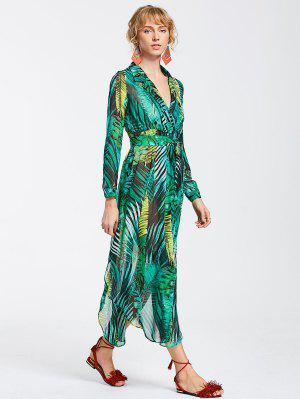 High Slit Tropical Beach Maxi Dress - Green M