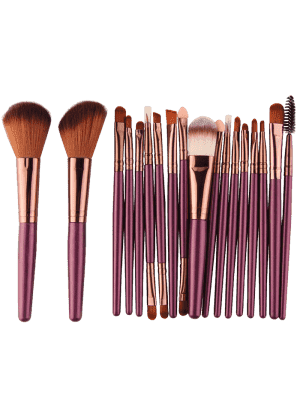 18pcs Multifuncional Maquillaje Facial Pinceles Conjunto - Pardusco Púrpura