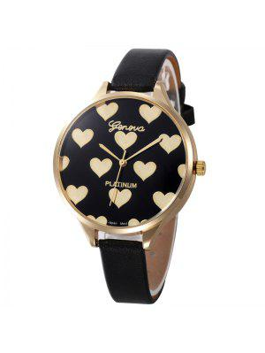 Heart Face Faux Leather Strap Watch - Black