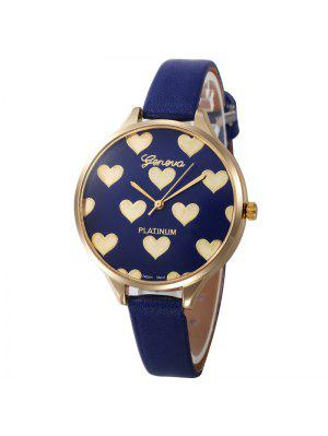 Heart Face Faux Leather Strap Watch - Bleu