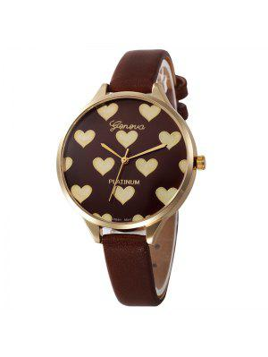 Heart Face Faux Leather Strap Watch - Brun
