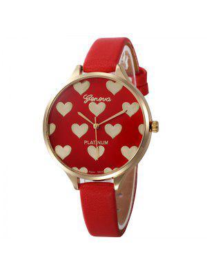 Faux Lederband Uhr mit Herz Muster