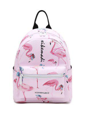 Faux Leather Flamingo Print Backpack