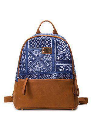 PU Leather Panel Tribal Print Mochila - Azul