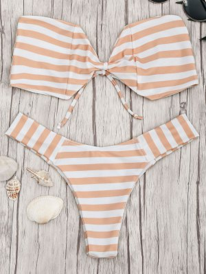 Conjunto De Bikini Con Rayas - Naranja Y Blanco S