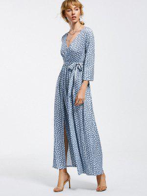 Vestido Largo Con Estampado De Cintura - Azul Claro Xl