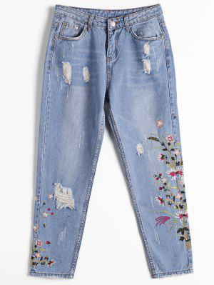 Destoryed Floral Embroidered Tapered Jeans - Denim Blue M