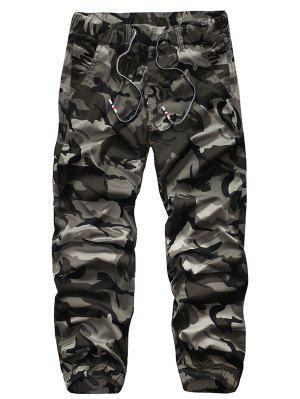 Pantalon Jogger Camouflage à Bas Élastique à Corde