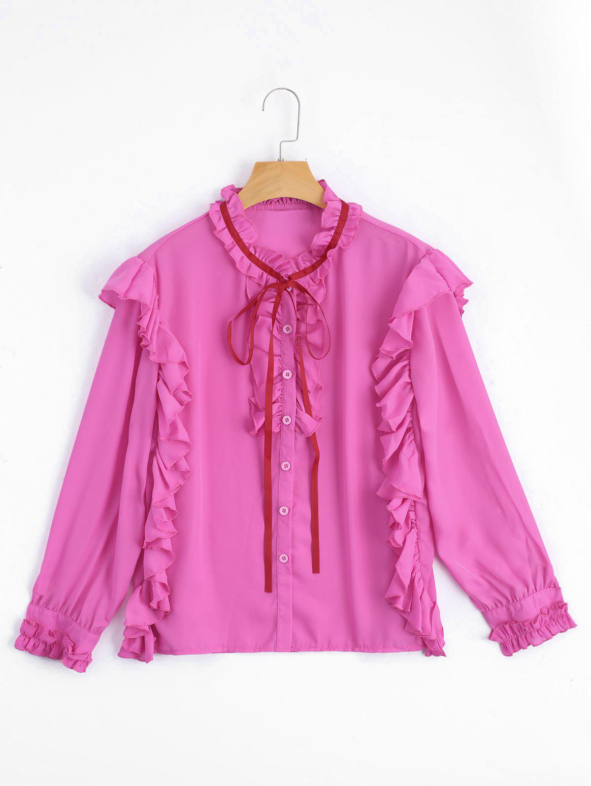 Ruffle Hem Button Up Bluse