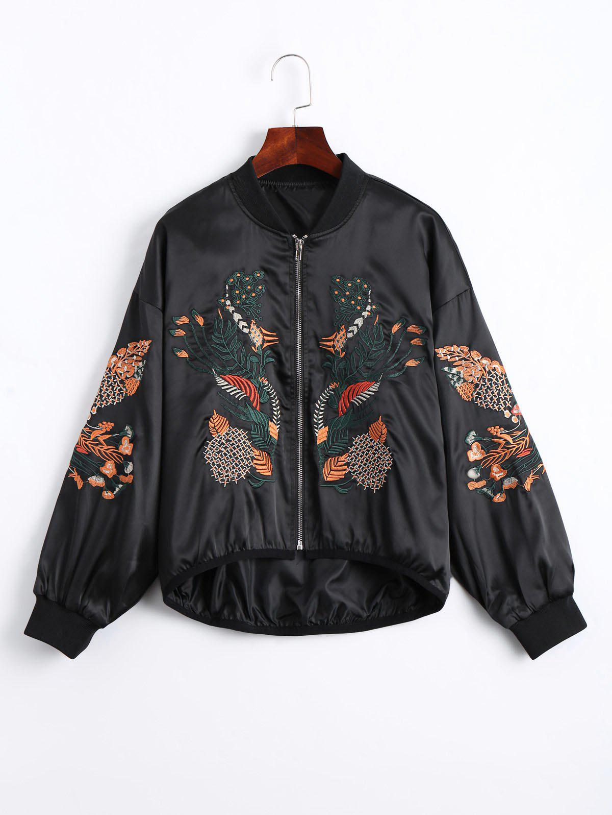 Floral Embroidered High Low Bomber Jacket 220589301