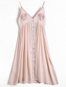 Floral Embroidered Button Up Slip Dress - Light Pink L