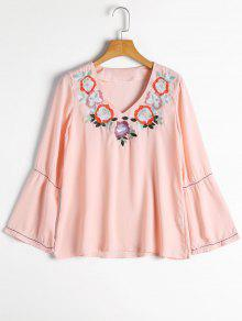 Flare Sleeve Floral Embroidered Blouse - Pink S