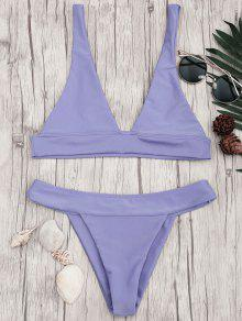 Plunge Bikini Top And High Cut Bottoms - Purple M