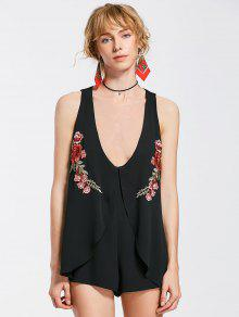 Layered Floral Embroidered Patchs Romper - Black S