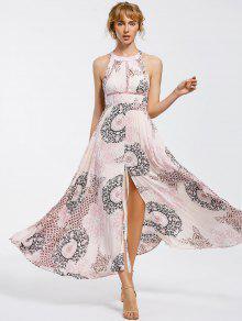 Bowknot Sheer Cut Out Maxi Dress - M