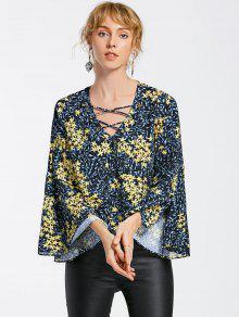 Blusa De Manga Cruzada Con Estampado Cruzado Criss - Multicolor S