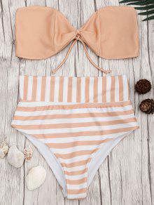 Bandeau Striped High Waisted Bikini Set - Orangepink M