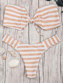 Bow Bandeau Striped Bikini Set - Orange And White M