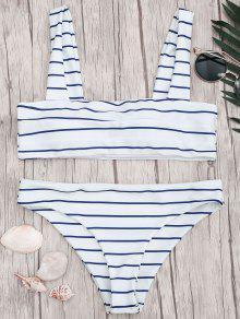 Nautical Striped Square Neck Padded Bikini Set - Blue And White L