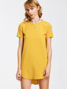 Bow Tie Mini Tunic Dress - Yellow M